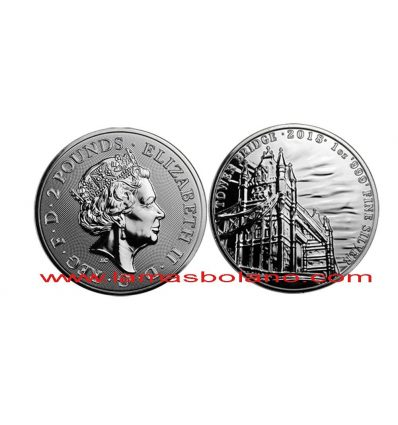 INGLATERRA 2018 MONEDA PLATA2 LIBRAS TOWER BRIDGE SOBRE RIO TAMESIS PROOF