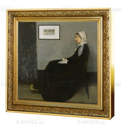 NIUE MONEDA PLATA A COLOR PINTURA DE JAMES MCNEILL WHISTLER ANA MATILDA MADRE PROOF