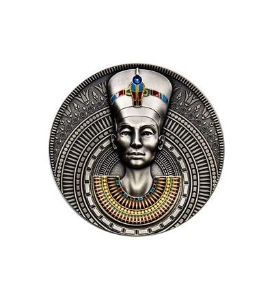NIUE 2020 NEFERTITI MONEDA PLATA CON COLOR 3 ONZAS ACABADO ANTIGUO