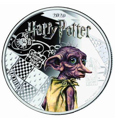 MONEDA HARRY POTTER DOBBY A COLOR 2020 SAMOA HALF DOLLAR SILVER PLATED PROOF LIKE BLISTER