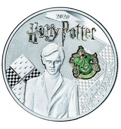 MONEDA HARRY POTTER DRACO MALFOY A COLOR 2020 SAMOA HALF DOLLAR SILVER PLATED PROOF LIKE BLISTER