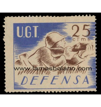 ESPAÑA SELLO VIÑETA GUERRA CIVIL 1937 UGT DEFENSA 1 VALOR SIN GOMA